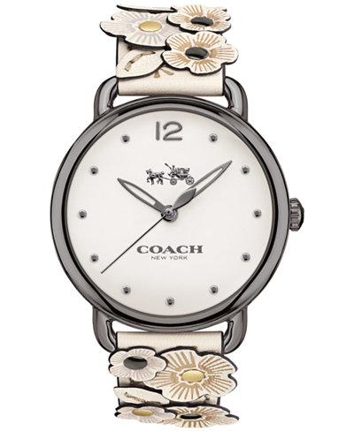 COACH Women's Delancey Flower Appliqué White Leather Strap Watch 36mm 14502746