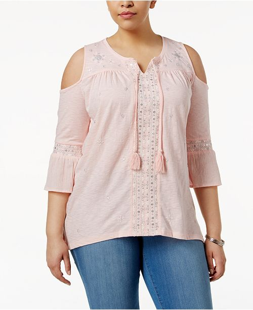 e1b6fdf27b2d71 ... Style   Co Plus Size Embellished Cold-Shoulder Peasant Top