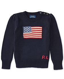 Little Girls American Flag Knit Cotton Sweater