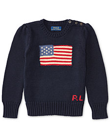 Ralph Lauren American Flag Knit Cotton Sweater, Toddler Girls