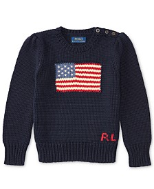 Polo Ralph Lauren Toddler Girls American Flag Knit Cotton Sweater