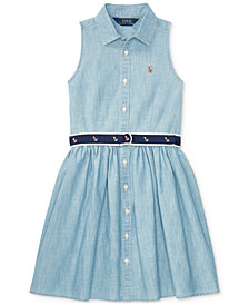 Polo Ralph Lauren Fit & Flare Chambray Shirtdress, Big Girls (7-16)