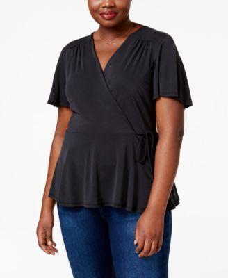 Monteau Trendy Plus Size Faux-Wrap Peplum Top