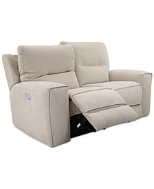 "CLOSEOUT! Genella 66"" Fabric Power Reclining Loveseat with Power Headrest and USB Power Outlet"