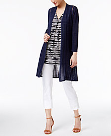 Alfani Duster Cardigan, Fish-Print Top & Capri Pants, Created for Macy's