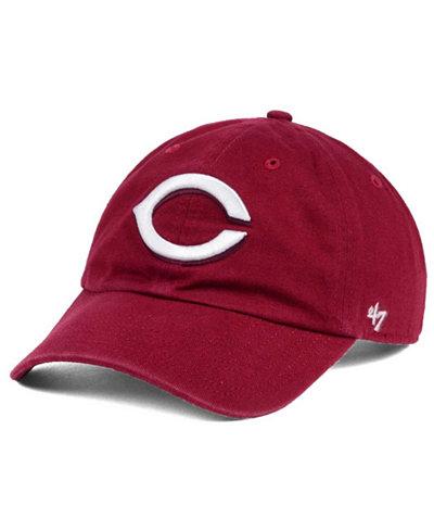'47 Brand Cincinnati Reds Cardinal and White Clean Up Cap
