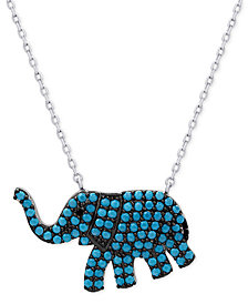 Manufactured Turquoise Elephant Pendant Necklace in Sterling Silver
