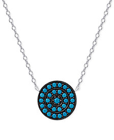Manufactured Turquoise Medallion Pendant Necklace in Sterling Silver