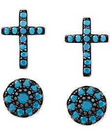 2-Pc. Set Manufactured Turquoise Cross and Oval Stud Earrings in Sterling Silver