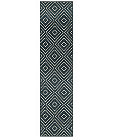 "CLOSEOUT! JHB Design  Soleil Vector Navy 1'10"" x 7'6"" Indoor/Outdoor Runner Rug"