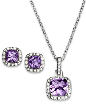 Sterling Silver Pendant and Earrings Set, Amethyst (2-1/3 ct. t.w.) and Diamond Accent Square