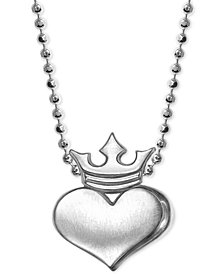 Alex Woo Heart and Crown Pendant Necklace in Sterling Silver