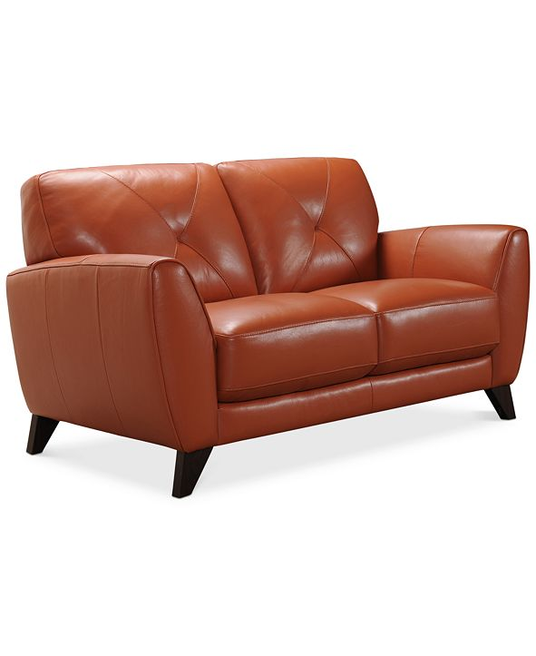 """Furniture Myia 62"""" Leather Loveseat, Created for Macy's"""
