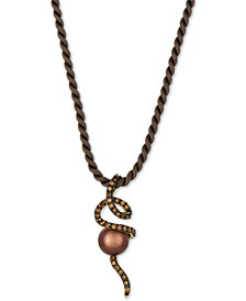 Le Vian Chocolatier® Cultured Tahitian Brown Pearl (9-1/2mm) and Diamond (3/4 ct. t.w.) Silk Cord Pendant Necklace in 14k Gold