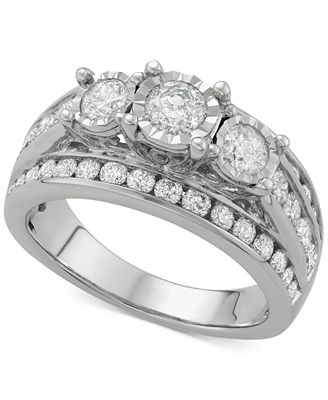 Diamond Multi-Row Trinity Engagement Ring (2 ct. t.w.) in 14k White Gold