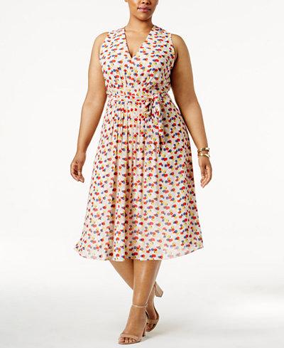 Anne Klein Plus Size Dot-Print Fit & Flare Dress