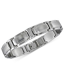 Men's Diamond Link Bracelet (1/10 ct. t.w.) in Stainless Steel