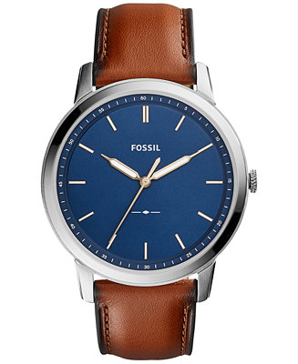 Fossil Men S The Minimalist Brown Leather Strap Watch 44mm