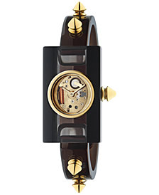Gucci Women's Swiss Plexiglas Watch Gold-Tone PVD Stud Long-Bracelet Watch 24x40mm YA143508