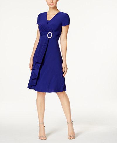 R Amp M Richards Short Sleeve Faux Wrap Dress Dresses