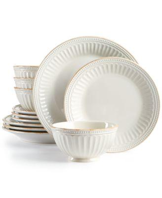 French Perle Groove White 12-Piece Dinnerware Set Created for Macyu0027s  sc 1 st  Macyu0027s & Lenox French Perle Groove Collection - Dinnerware - Dining ...