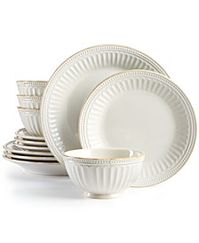 French Perle Groove White 12-Piece Dinnerware Set, Service for 4, Created for Macy's