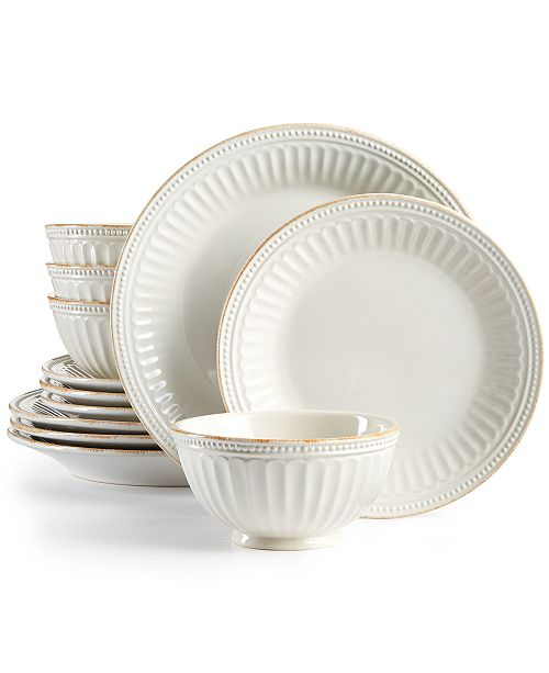 Lenox French Perle Groove White 12-Piece Dinnerware Set, Created for Macy's