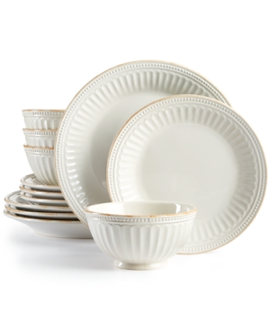Lenox French Perle Groove White 12Piece Dinnerware Set Created for Macys
