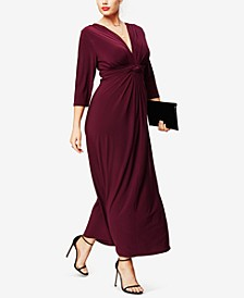 Plus Size Three-Quarter-Sleeve Knotted Maxi Dress