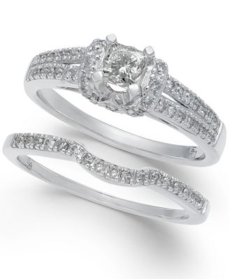 Diamond Elevated Bridal Set (3/4 ct. t.w.) in 14k White Gold