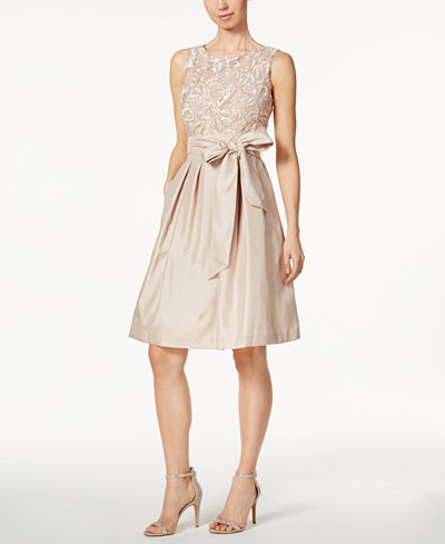 Jessica Howard Embroidered Sash Fit Amp Flare Dress