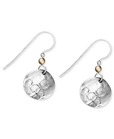 Silver-Plated Earrings, Hammered Disc Drop Earrings