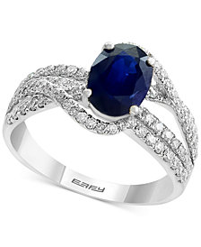 Royale Bleu by EFFY® Sapphire (1-3/8 ct. t.w.) and Diamond (3/4 ct. t.w.) Ring in 14k White Gold