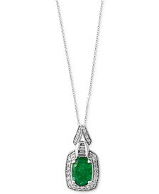 Brasilica by EFFY® Emerald (1-1/8 ct. t.w.) and Diamond (1/4 ct. t.w.) Pendant Necklace in 14k White Gold, Created for Macy's