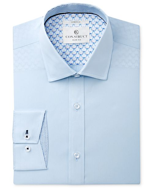 ConStruct Con.Struct Men's Slim-Fit Stretch Mist Poplin Stretch Dress Shirt