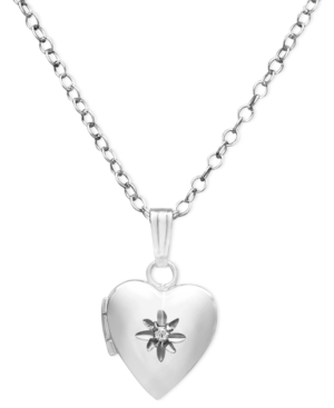 Children's Sterling Silver Necklace, Diamond Accent Heart Locket
