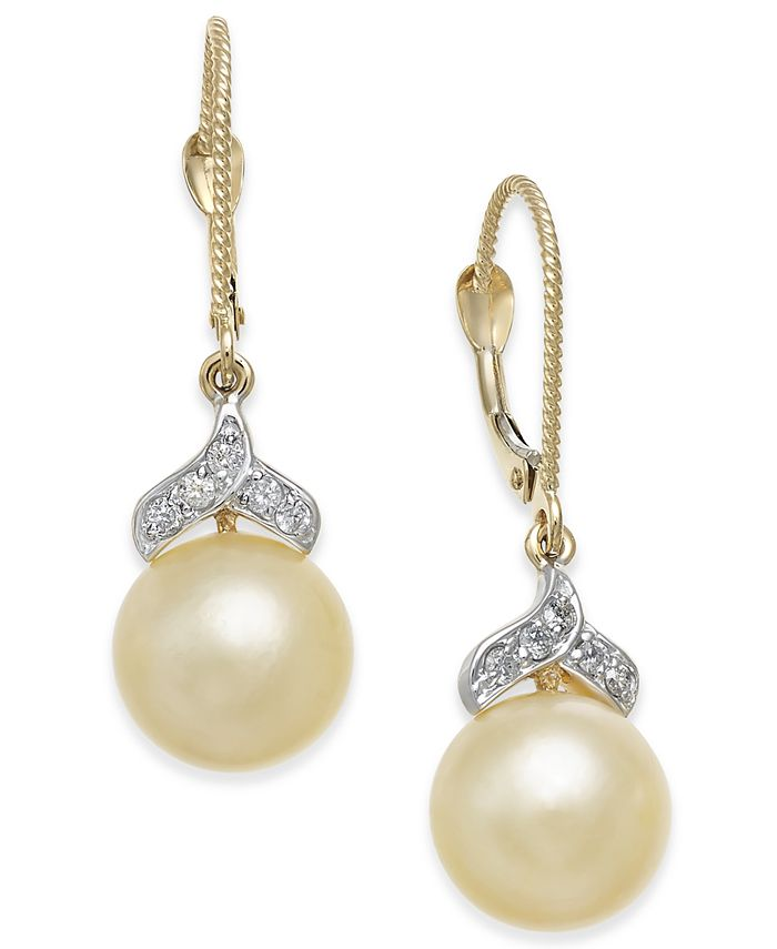 Macy's - Cultured Golden South Sea Pearl (9mm) and Diamond (1/8 ct. t.w.) Drop Earrings in 14k Gold
