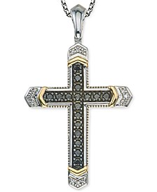 Men's Diamond Cross Pendant Necklace (1/4 ct. t.w.) in Sterling Silver and 10k Gold