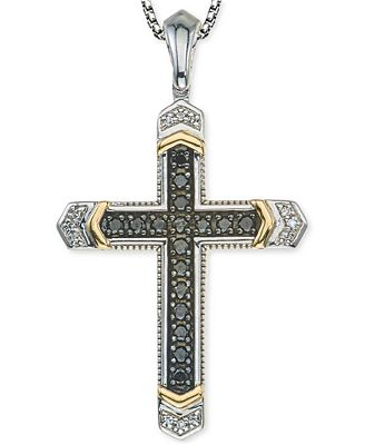 Mens diamond cross pendant necklace 14 ct tw in sterling mens diamond cross pendant necklace 14 ct tw in sterling silver aloadofball Choice Image