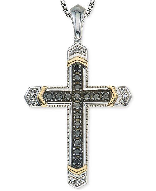 Macy s Men s Diamond Cross Pendant Necklace (1 4 ct. t.w.) in Sterling cc4f71547