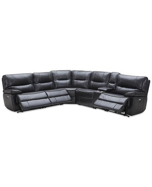 "Furniture Garraway 6-Pc. ""L"" Leather Sectional Sofa with 3 Power Recliners with Power Headrests, and Console with USB Power Outlet, Created for Macy's"