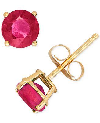Macy S Lab Created Ruby Stud Earrings 1 1 3 Ct T W In 14k Gold