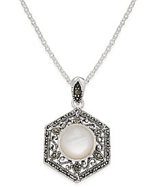 Mother-of-Pearl and Marcasite Filigree Pendant Necklace in Silver-Plate
