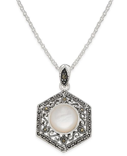 Macy's Mother-of-Pearl and Marcasite Filigree Pendant Necklace in Silver-Plate