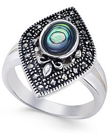 Marcasite and Paua Shell Statement Ring in Silver-Plate