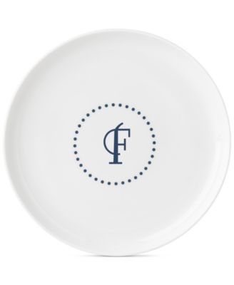 Navy Dots Monogram Accent Plate