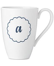 Lenox Navy Scallop Monogram Mug