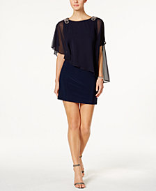 X by Xscape Petite Embellished Chiffon Cape Dress