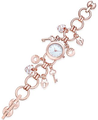 Charter Club Women's Rose Gold-Tone Charm Bracelet Watch 23mm, Only at Macy's