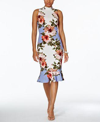 JAX Floral-Print Ruffle-Hem Sheath Dress